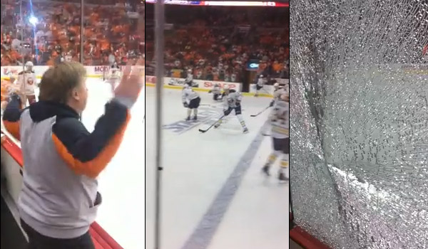 Video: Tyler Myers shatters glass to quiet taunting Flyers fan