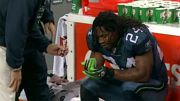 Marshawn Lynch beats Eagles, eats Skittles, gets endorsement