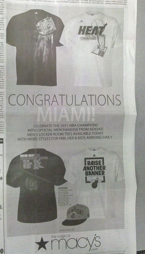 Miami ad congratulates the Heat for a title they didn't win