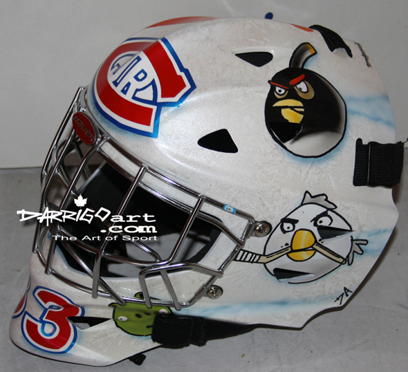Behind Angry Birds mask and other goalie video game tributes