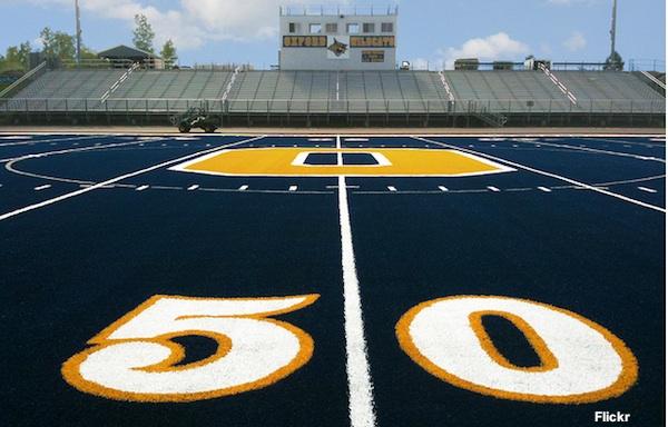 Oxford Michigan's blue turf field