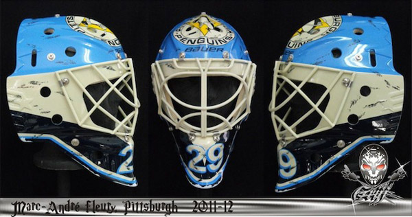 Marc-Andre Fleury's new mask, puck marks included