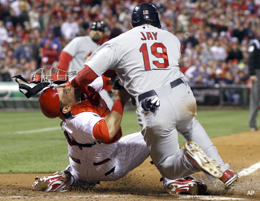 Video: Jon Jay and Carlos Ruiz's violent home-plate collision