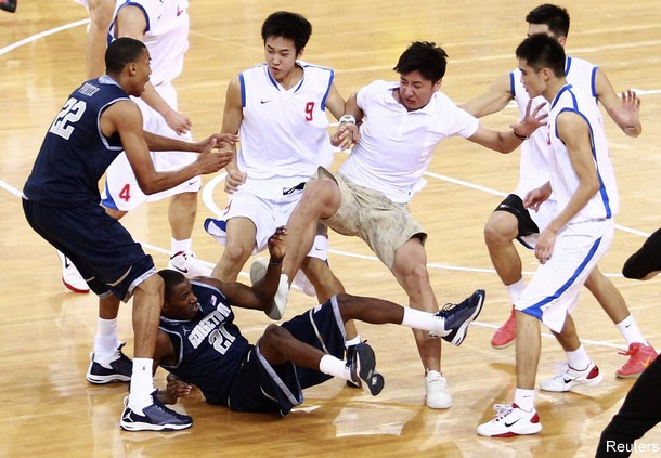 Wild brawl ends Georgetown&#8217;s exhibition game in China early