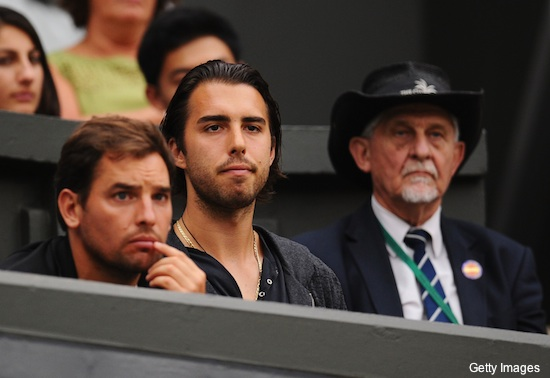 Various pics of Sasha Vujacic watching Maria Sharapova play tennis