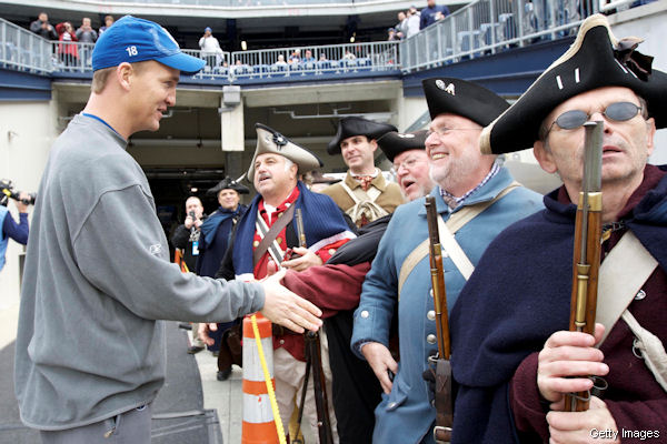 Peyton Manning encountered a lovely group of Patriots fans