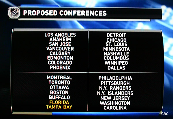 Latest NHL radical realignment plan breaks up Southeast Div.