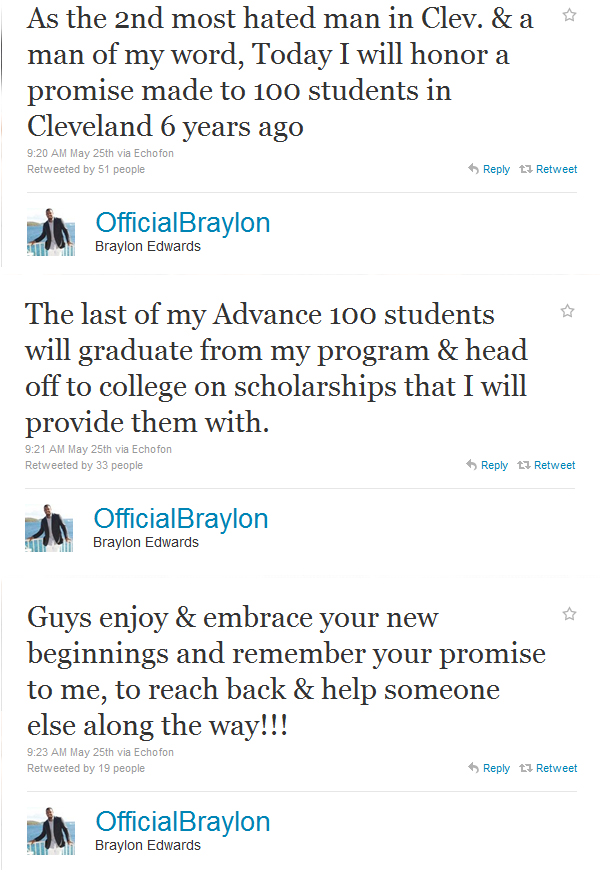 Braylon Edwards keeps his promise, awards 100 scholarships