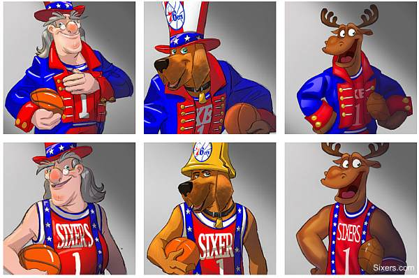 76ers unveil three questionable new potential mascots