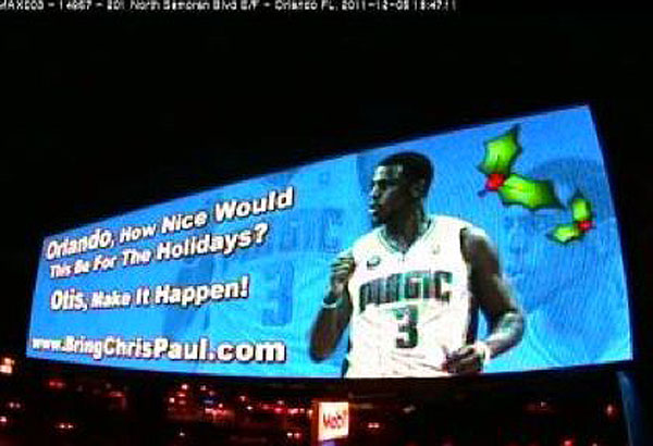 Orlando Magic fans construct a billboard begging their GM to trade for Chris Paul