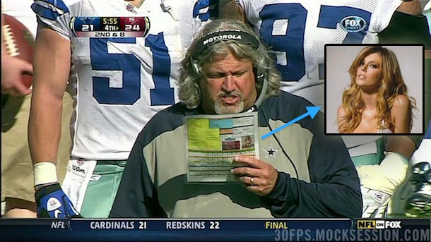 Rob Ryan's play chart includes a picture of a scantily clad model