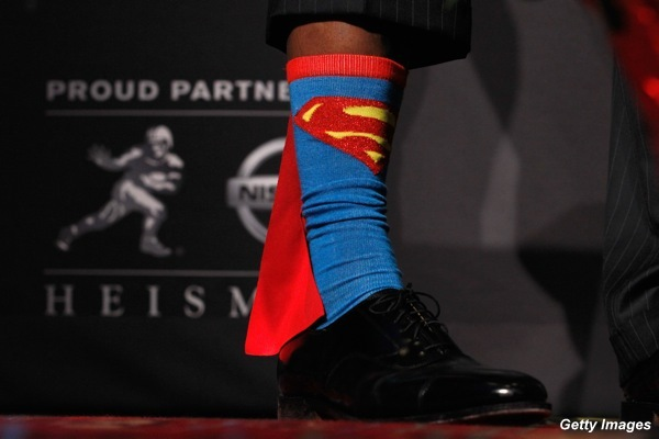 Robert Griffin III rocks Superman socks on his way to the Heisman Trophy