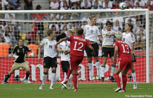 Christine Sinclair breaks nose, German shutout streak