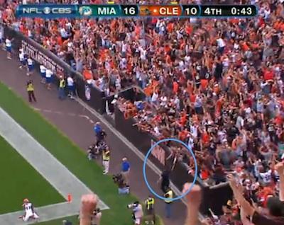 Video: Browns fan celebrates game-winning touchdown on field