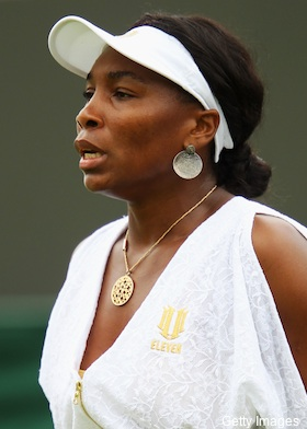 Pictures: Venus wins on court, loses with toga jumper outfit