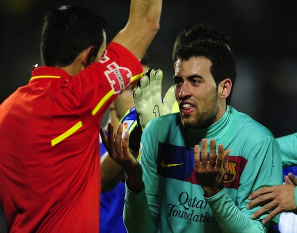 This is Sergio Busquets actually getting booked for diving