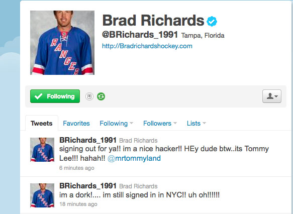 Motley Crues Tommy Lee saves Brad Richards from Twitter hack - Puck Daddy  - NHLBlog - Yahoo!