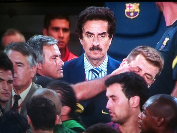 Jose Mourinho makes stink face, pinches Barca coach's eye