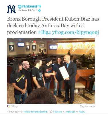 True story: Yankee Stadium will host 'Anthrax Day' in the Bronx