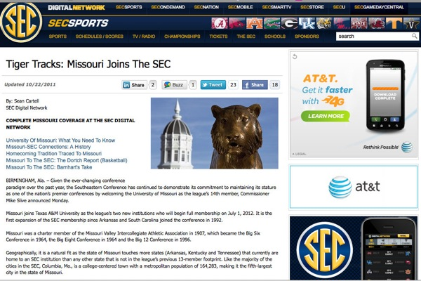 Missouri briefly joined the SEC last night, according to the SEC's website