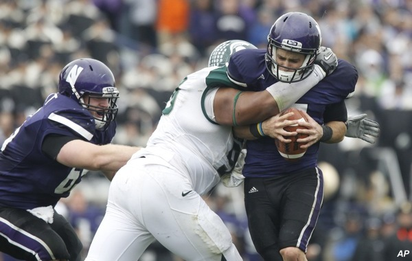 MSU's Worthy gives Russell Wilson an unfriendly welcome to the Big Ten