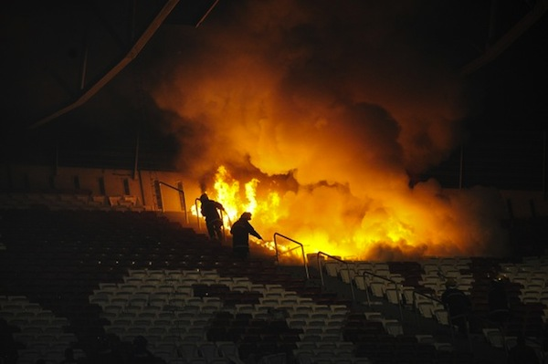 Benfica beat Sporting, so Sporting fans set their stadium on fire