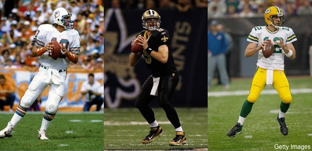 Will Brees, Brady or Rodgers break Dan Marino's passing record?