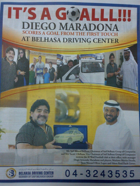 Maradona gets driver's license, stars in driving school ad
