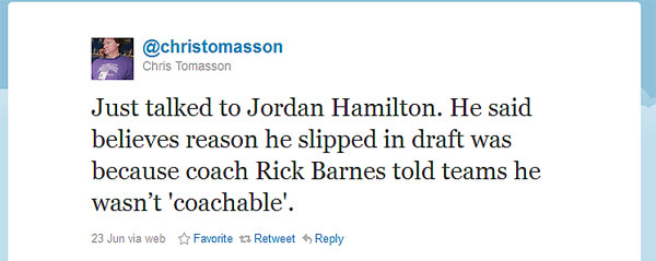 Did Jordan Hamilton's college coach cause his draft night stumble?
