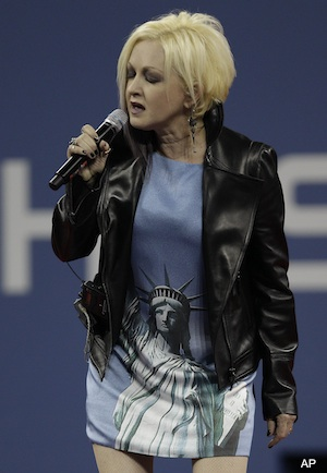Video: Cyndi Lauper messes up national anthem at U.S. Open