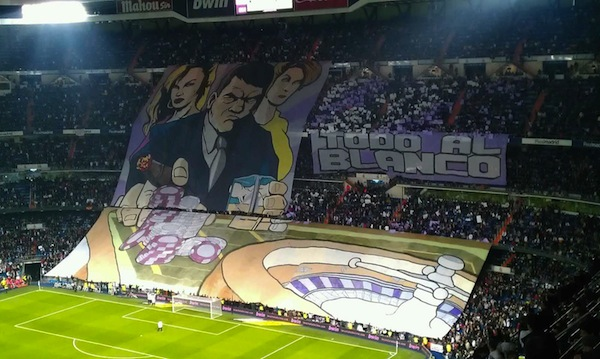 Real Madrid fans' massive derby gambler tifo display
