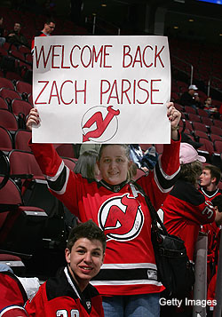Puck Daddy chats with Zach Parise about his new contract, Devils' chances, North Dakota dropping 'Fighting Sioux' and Easton skates