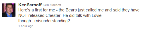 Chester Taylor released by Bears … or maybe not?