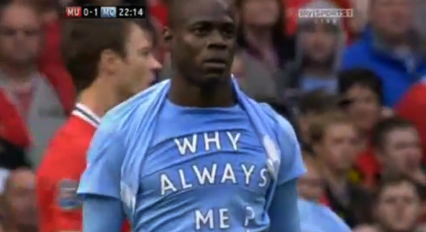 Balotelli scores on Man Utd, reveals &#8216;Why always me?&#8217; shirt