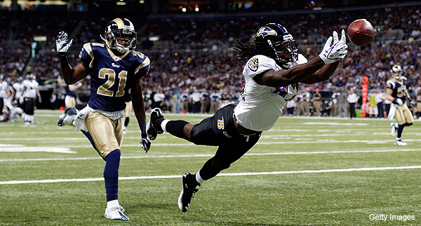 Rookie Torrey Smith's first three NFL catches are all touchdowns in astonishing performance