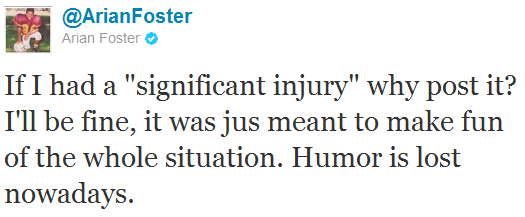 Arian Foster tweets MRI of hamstring, gets instant diagnosis