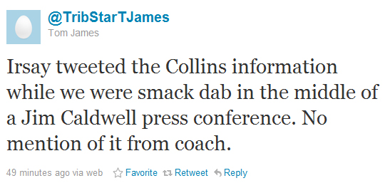 Colts owner Irsay tweets news of Kerry Collins signing