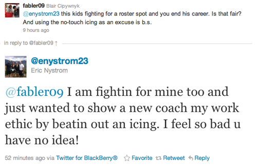 Eric Nystrom feels terrible and Twitter isn't helping