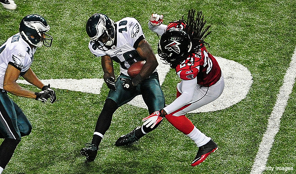 Dunta Robinson fined $40K for Maclin hit, Falcons coach says 'That's the way we teach it'