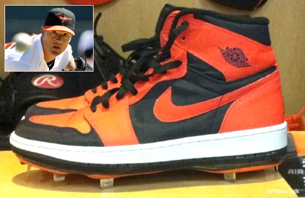 So orange! Jeremy Guthrie's awesome Air Jordan 1 cleats