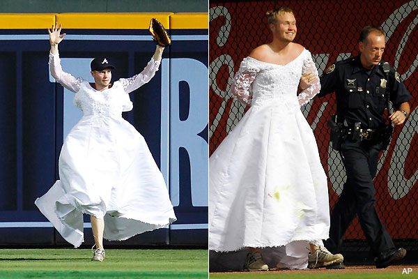 Runaway bride! Man in wedding dress interrupts Braves game
