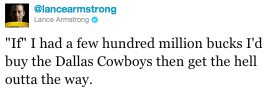 Lance Armstrong takes a Twitter shot at Jerry Jones