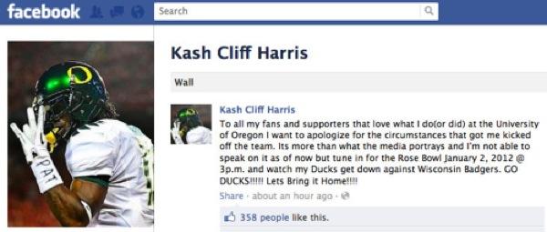 Cliff Harris Facebooks his apology to Oregon fans