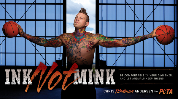 Chris Andersen shows off his ink for PETA anti-fur campaign