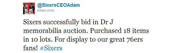 The 76ers go to bat for Dr. J and their fans, purchasing his memorabilia