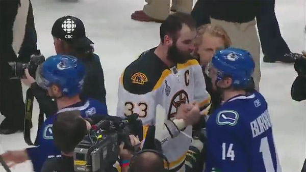 Video: The awkward glory of the Bruins, Canucks handshake line