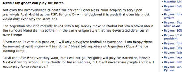 ESPN published our fake Messi ghost quotes as if they were real