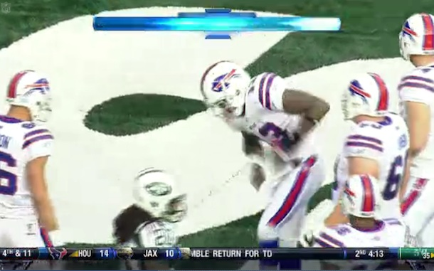 Stevie Johnson celebrates TD against Jets by shooting his leg like Plaxico Burress