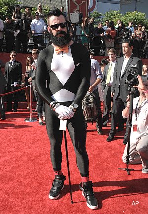 Of course he did: Brian Wilson rocks spandex tuxedo at ESPYs