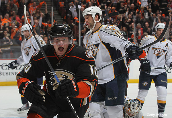 Puck Daddy chats with Anaheim's Corey Perry about MVP award, his reputation, his grandma, hits to head and 'NHL 12′